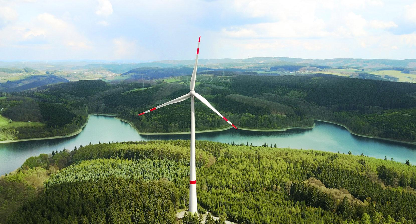 Produziert einen Teil des Mark E Ökostroms: Das Windrad an der Versetalsperre