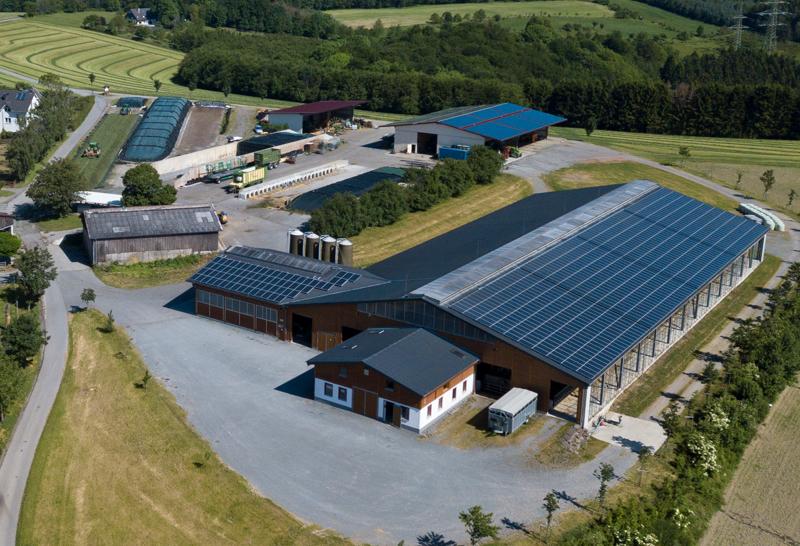 Regionaler Mark E Ökostrom aus den Solaranlagen des Milchviebetriebs in Altena