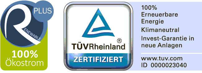 100 % Ökostrom nach RenewablePLUS (TÜV Rheinland geprüft) und TÜV 1304-Standard